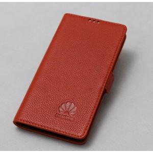 Кожаный чехол горизонтальная книжка подставка (премиум нат. кожа) с магнитной застежкой для Huawei Honor 6X  Оранжевый