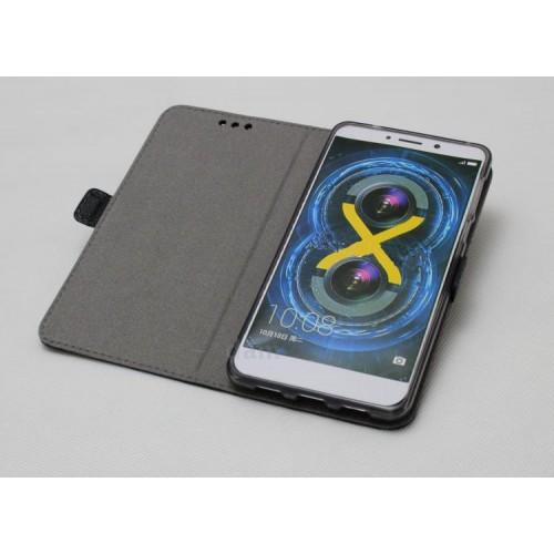 Кожаный чехол горизонтальная книжка подставка (премиум нат. кожа крокодила) с магнитной застежкой для Huawei Honor 6X  Черный