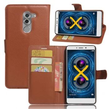 Чехол портмоне подставка на силиконовой основе с отсеком для карт на магнитной защелке для Huawei Honor 6X