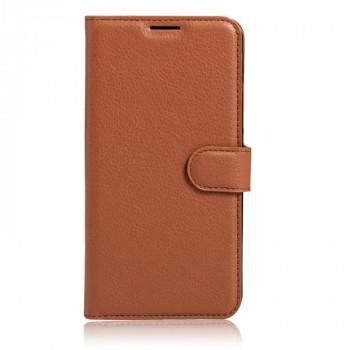 Чехол портмоне подставка на силиконовой основе с отсеком для карт на магнитной защелке для Huawei Honor 6X  Коричневый