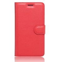 Чехол портмоне подставка на силиконовой основе с отсеком для карт на магнитной защелке для Huawei Honor 6X  Красный