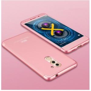 Пластиковый непрозрачный матовый чехол сборного типа для Huawei Honor 6X  Розовый
