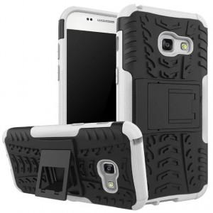 Противоударный двухкомпонентный силиконовый матовый непрозрачный чехол с нескользящими гранями и поликарбонатными вставками экстрим защиты с встроенной ножкой-подставкой для Samsung Galaxy A3 (2017)