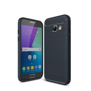 Силиконовый матовый непрозрачный чехол с текстурным покрытием Металлик для Samsung Galaxy A3 (2017)