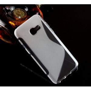 Силиконовый матовый непрозрачный чехол с нескользящими гранями и дизайнерской текстурой S для Samsung Galaxy A3 (2017)