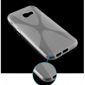 Силиконовый матовый полупрозрачный чехол с нескользящими гранями и дизайнерской текстурой X для Samsung Galaxy A5 (2017)