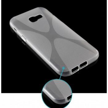 Силиконовый матовый полупрозрачный чехол с нескользящими гранями и дизайнерской текстурой X для Samsung Galaxy A5 (2017)  Белый