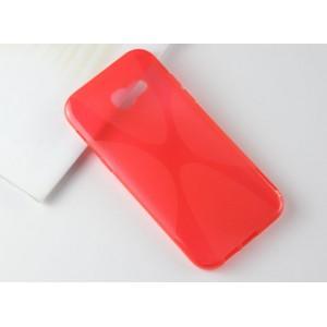 Силиконовый матовый полупрозрачный чехол с нескользящими гранями и дизайнерской текстурой X для Samsung Galaxy A5 (2017)  Красный