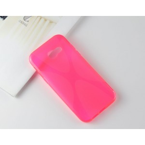 Силиконовый матовый полупрозрачный чехол с нескользящими гранями и дизайнерской текстурой X для Samsung Galaxy A5 (2017)  Пурпурный