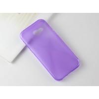 Силиконовый матовый полупрозрачный чехол с нескользящими гранями и дизайнерской текстурой X для Samsung Galaxy A5 (2017)  Фиолетовый