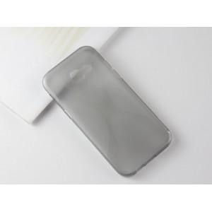 Силиконовый матовый полупрозрачный чехол с нескользящими гранями и дизайнерской текстурой X для Samsung Galaxy A5 (2017)  Серый