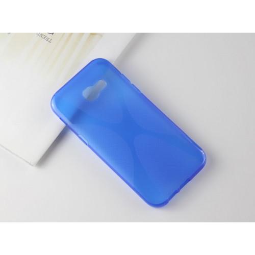 Силиконовый матовый полупрозрачный чехол с нескользящими гранями и дизайнерской текстурой X для Samsung Galaxy A5 (2017)  Синий