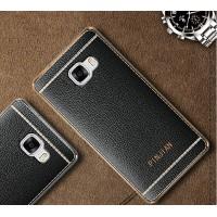 Силиконовый матовый полупрозрачный чехол с текстурным покрытием Кожа для Samsung Galaxy A5 (2017)  Черный