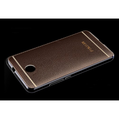 Силиконовый матовый полупрозрачный чехол с текстурным покрытием Кожа для Samsung Galaxy A5 (2017) Коричневый
