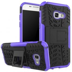 Силиконовый матовый непрозрачный чехол с нескользящими гранями и поликарбонатными вставками экстрим защиты с встроенной ножкой-подставкой для Samsung Galaxy A5 (2017) Фиолетовый