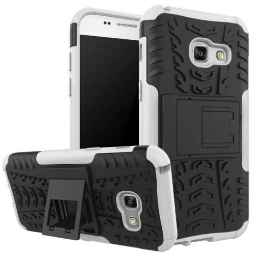 Силиконовый матовый непрозрачный чехол с нескользящими гранями и поликарбонатными вставками экстрим защиты с встроенной ножкой-подставкой для Samsung Galaxy A5 (2017) Черный