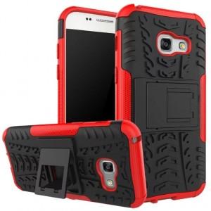 Силиконовый матовый непрозрачный чехол с нескользящими гранями и поликарбонатными вставками экстрим защиты с встроенной ножкой-подставкой для Samsung Galaxy A5 (2017) Красный