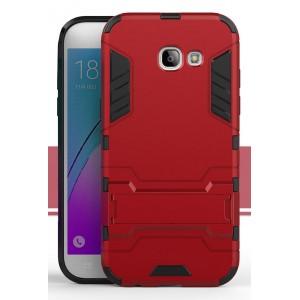 Силиконовый матовый непрозрачный чехол с поликарбонатными вставками с встроенной ножкой-подставкой для Samsung Galaxy A5 (2017)  Красный