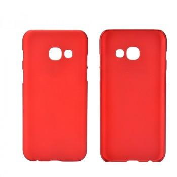 Пластиковый непрозрачный матовый чехол для Samsung Galaxy A5 (2017) Красный