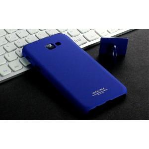 Пластиковый непрозрачный матовый чехол с повышенной шероховатостью для Samsung Galaxy A5 (2017)  Синий
