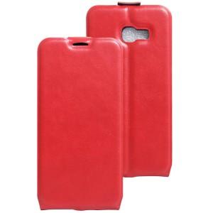 Глянцевый водоотталкивающий чехол вертикальная книжка на силиконовой основе с отсеком для карт на магнитной защелке для Samsung Galaxy A5 (2017) Красный