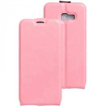 Глянцевый водоотталкивающий чехол вертикальная книжка на силиконовой основе с отсеком для карт на магнитной защелке для Samsung Galaxy A5 (2017) Розовый