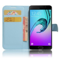 Чехол горизонтальная книжка подставка на силиконовой основе с отсеком для карт на магнитной защелке для Samsung Galaxy A5 (2017) Голубой