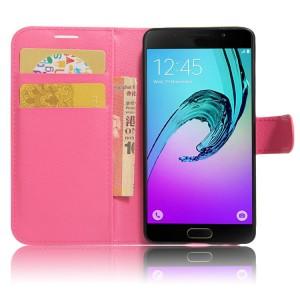 Чехол горизонтальная книжка подставка на силиконовой основе с отсеком для карт на магнитной защелке для Samsung Galaxy A5 (2017) Пурпурный