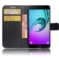 Чехол горизонтальная книжка подставка на силиконовой основе с отсеком для карт на магнитной защелке для Samsung Galaxy A5 (2017) Черный