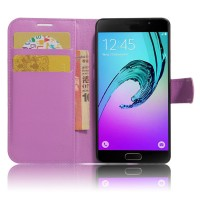 Чехол горизонтальная книжка подставка на силиконовой основе с отсеком для карт на магнитной защелке для Samsung Galaxy A5 (2017) Фиолетовый