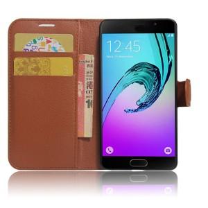 Чехол горизонтальная книжка подставка на силиконовой основе с отсеком для карт на магнитной защелке для Samsung Galaxy A5 (2017) Коричневый