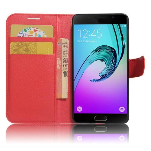 Чехол горизонтальная книжка подставка на силиконовой основе с отсеком для карт на магнитной защелке для Samsung Galaxy A5 (2017) Красный