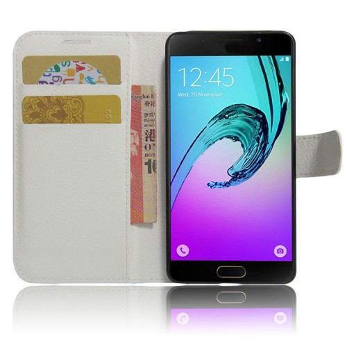 Чехол горизонтальная книжка подставка на силиконовой основе с отсеком для карт на магнитной защелке для Samsung Galaxy A5 (2017) Розовый