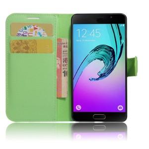 Чехол горизонтальная книжка подставка на силиконовой основе с отсеком для карт на магнитной защелке для Samsung Galaxy A5 (2017) Зеленый