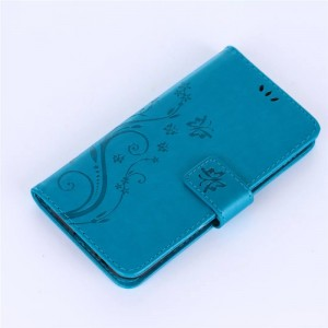 Чехол горизонтальная книжка подставка текстура Узоры на силиконовой основе с отсеком для карт на магнитной защелке для Samsung Galaxy A5 (2017)  Голубой