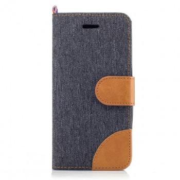 Чехол горизонтальная книжка подставка на силиконовой основе с отсеком для карт и тканевым покрытием на магнитной защелке для Samsung Galaxy A5 (2017)