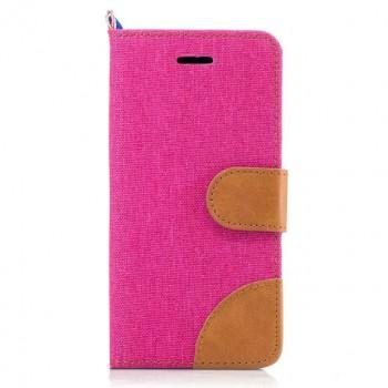 Чехол горизонтальная книжка подставка на силиконовой основе с отсеком для карт и тканевым покрытием на магнитной защелке для Samsung Galaxy A5 (2017)  Пурпурный