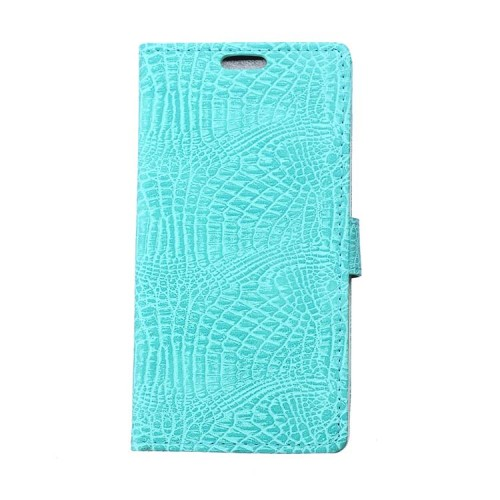Чехол горизонтальная книжка подставка текстура Крокодил на силиконовой основе с отсеком для карт на магнитной защелке для Samsung Galaxy A5 (2017)  Белый