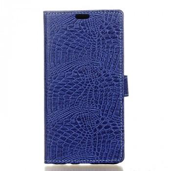 Чехол горизонтальная книжка подставка текстура Крокодил на силиконовой основе с отсеком для карт на магнитной защелке для Samsung Galaxy A5 (2017)