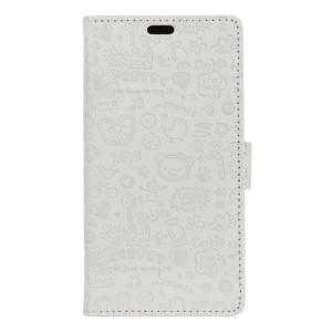 Чехол горизонтальная книжка подставка текстура Мультик на силиконовой основе с отсеком для карт на магнитной защелке для Samsung Galaxy A5 (2017)  Белый