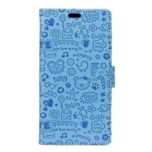 Чехол горизонтальная книжка подставка текстура Мультик на силиконовой основе с отсеком для карт на магнитной защелке для Samsung Galaxy A5 (2017)  Голубой