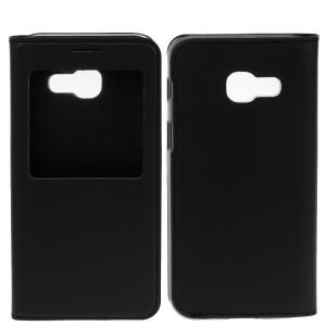 Чехол горизонтальная книжка на пластиковой основе с окном вызова для Samsung Galaxy A5 (2017) Черный