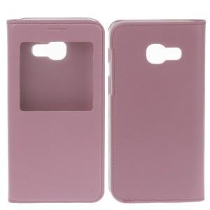 Чехол горизонтальная книжка на пластиковой основе с окном вызова для Samsung Galaxy A5 (2017) Розовый