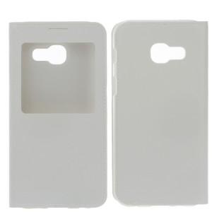 Чехол горизонтальная книжка на пластиковой основе с окном вызова для Samsung Galaxy A5 (2017) Белый