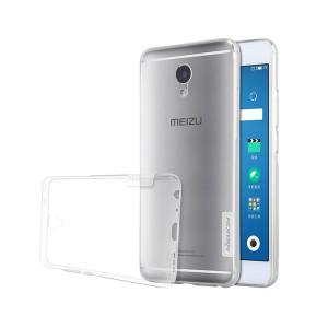 Силиконовый глянцевый полупрозрачный чехол с нескользящими гранями и защитными заглушками для Meizu M5 Note