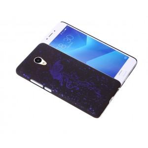Пластиковый непрозрачный матовый чехол с голографическим принтом Бабочка для Meizu M5 Note