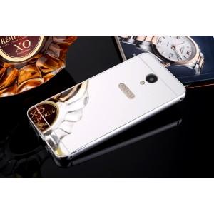 Двухкомпонентный чехол c металлическим бампером с поликарбонатной накладкой и зеркальным покрытием для Meizu M5 Note