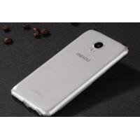 Силиконовый глянцевый полупрозрачный чехол с улучшенной защитой элементов корпуса (заглушки) для Meizu M5 Серый