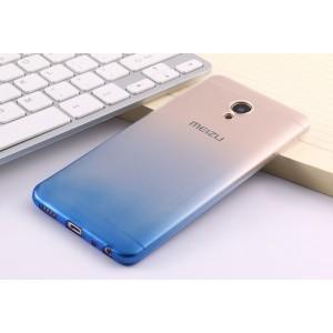 Силиконовый глянцевый полупрозрачный градиентный чехол для Meizu M5 Синий