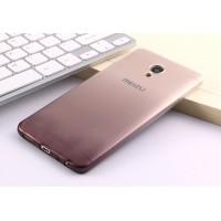 Силиконовый глянцевый полупрозрачный градиентный чехол для Meizu M5 Черный